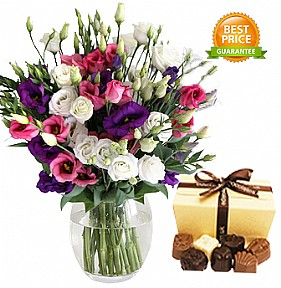 MIX Lisianthus with chocolates